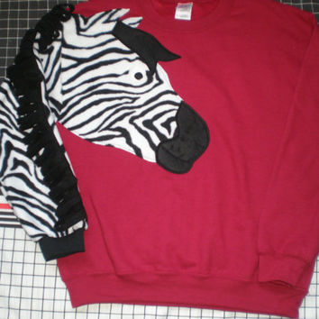 Zebra sweatshirt, zebra sweater, appliqued zebra shirt, zebra jumper  Customize to your colors and size