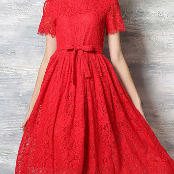 Red Lace Tie-Waist Midi Flare Dress