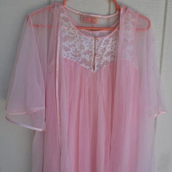 Vintage Komar Pink Chiffon Nightgown & Robe Peignoir Set Small Sleeveless Long Maxi with Lace