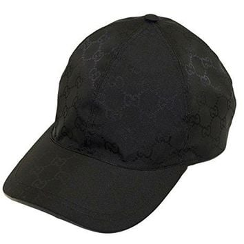 Gucci Signature GG Nylon Signature Web Stripe Baseball Cap, Nero (Black)