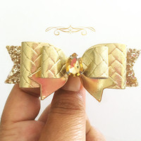Baby/Girls gold leather bow, basket weave leather bow in gold, gold hair clip, gold headband, gold glitter bow,  gold bows, gold Fall bow