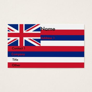Business Card with Flag of Hawaii U.S.A.