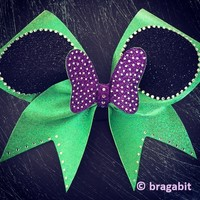 Lime green and purple cheer bow with rhinestones and glitter
