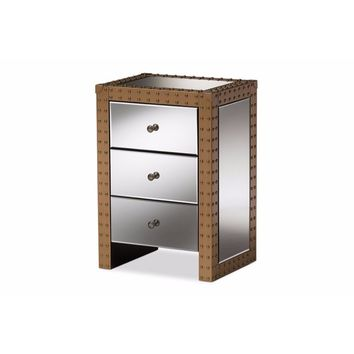Azura Rustic Industrial Style 3-Drawer Mirrored Nightstand By Baxton Studio