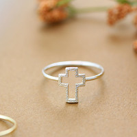 Simple Cross Line Ring Silver Gold Plated Jewelry gift idea 7.5 size
