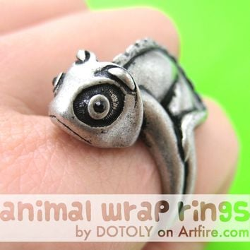 3D Adjustable Iguana Chameleon Animal Wrap Around Hug Ring in Silver | Animal Jewelry