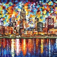 "CHICAGO — Palette Knife Oil Painting On Canvas By Leonid Afremov.  40""x30"" City"