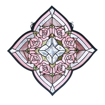 Meyda Hand Crafted Designed Art Decorative Panel 20W X 20H Ring Of Roses Stained Glass Window