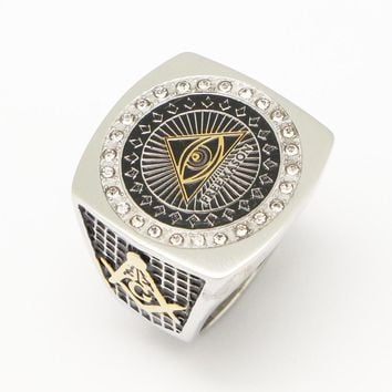 Stainless Steel Men's Gold Silver Two Tone Color Full Metal Eye of Horus Pyramid Ring Freemason Illuminati Jewelry