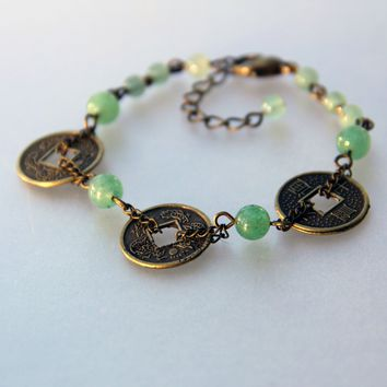 Jade Coin Chinese Antique charm link bracelet Bridesmaids gifts Free US Shipping handmade Anni Designs