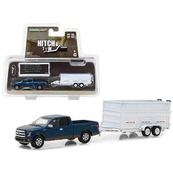 2016 Ford F-150 Pickup Truck and Dump Trailer Hitch & Tow Series 12 1/64 Diecast Car Model by Greenlight