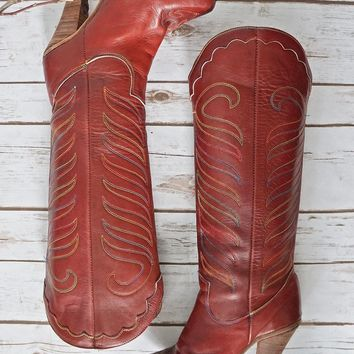 Vintage 1970s Western + Rainbow Stitch Cowgirl Boots | 6