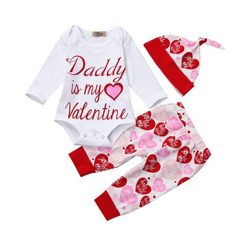 "3PC ""Daddy is my Valentine"" Outfit Red and Pink Hearts"