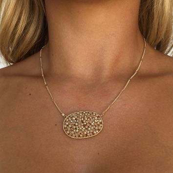 Beaded Circle Necklace in Gold