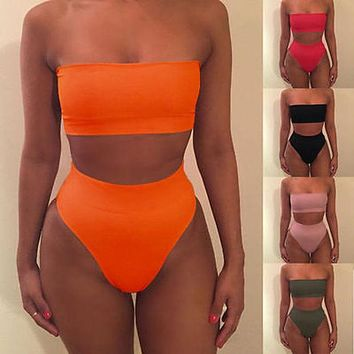 Sexy Women Beach Pure Color Strapless High Waist Two Piece Bikini Swimsuit Bathing(11-Color) I