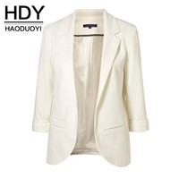 HDY Haoduoyi 2016 Autumn Fashion Women 7 Colors Slim Fit Blazer Jackets Notched Three Quarter Sleeve Blazer