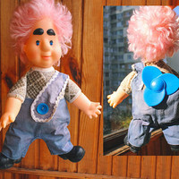 Soft Soviet Karlsson Doll / Rare USSR Vintage Stuffed + Rubber КАРЛСОН Carlson Toy / Collectible, Propeller, Pink Hair  ----> 38cm 15'' Tall