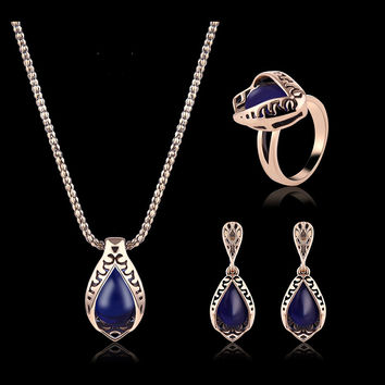 Turkey Series Necklace Blue Turquoise Ring Earrings Gift Jewelry Set