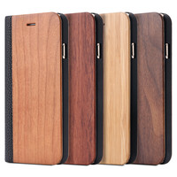 i6/6S/Plus Bamboo Black Walnut Natural Wood Vintage Case - Flip PU Leather Wallet Cover