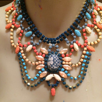 CORAL JAM coral, apricot and blue hand painted rhinestone statement bib necklace