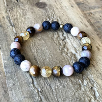 Motivation' Solar Plexus Chakra Aromatherapy Lava Rock and Gemstones Diffuser Bracelet