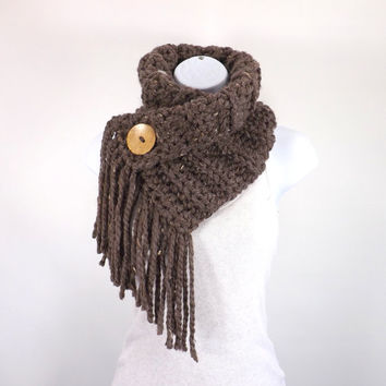 Fringed Chunky Scarf Cowl Neckwarmer with One Natural Coconut Shell Button  // The Geneva // in Barley