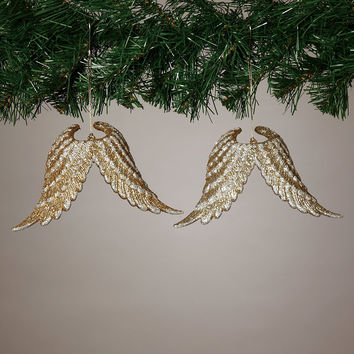 Glittered Angel Wing Ornaments