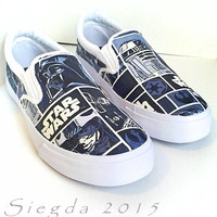 Star Wars- Mens Blue and Grey Canvas Shoes-Made to Order-Darth Vader-r2d2-Custom shoes-Slip On Shoes-Cosplay-Wedding shoes