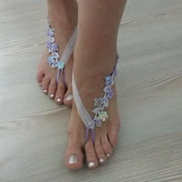 light purple Barefoot , french lace sandals, wedding anklet, Beach wedding barefoot sandals, embroidered sandals lilac lavender.
