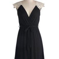 ModCloth Mid-length Cap Sleeves A-line Tango with Me Dress in Black