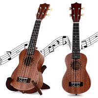21 Inch Soprano Ukulele Uke Four 4 Strings Instrument Brown Laser Engraving No-border Semi-closed Rosewood Sapele Ukelele