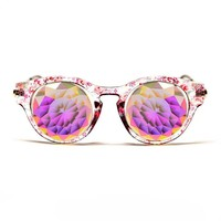 GloFX Floral Cat Eye Kaleidoscope Glasses – Rainbow Fractal