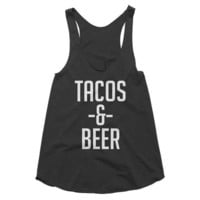 Tacos and Beer, funny, spring break, party,  girls night, night out, brunch, racerback tank, graphic tee, Yoga Top, Gym Top, workout