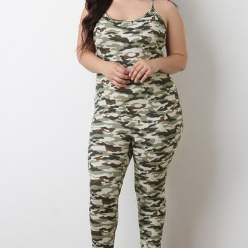 Soft Knit Camouflage Sleeveless Fitted Jumpsuit