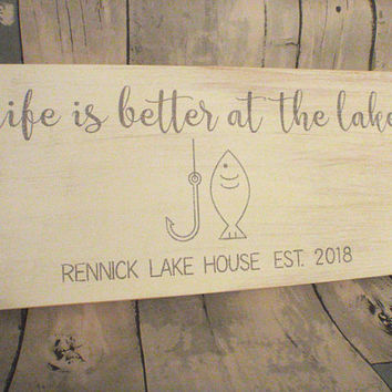 Custom Lake House Signs - Lake House Sign - Personalized Lake House Sign - Lake House Decor - Established  Sign - Housewarming Gift