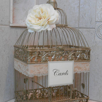 Wedding Card Box / Birdcage Cardholder / Gold Birdcage Wedding Card Holder