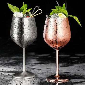 304 Stainless Steel Red Wine Glass Silver Rose Gold Goblets Juice Drink Champagne Goblet