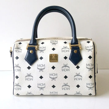 MCM White Visetos Boston Bag