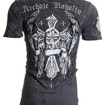 Licensed Official Archaic AFFLICTION Mens T-Shirt ROYALTY Cross Wings Tattoo Biker UFC S-4XL $40 a
