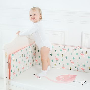 Baby Bed Bumper Cartoon Pattern Baby Crib Protector Crotch To The Cot Infant Cotton Cradle Guard 120cm Length
