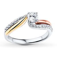 Diamond Engagement Ring 3/4 ct tw Round-cut 14K Tri-Color Gold