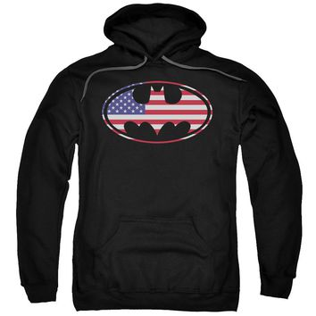 Batman - American Flag Oval Adult Pull Over Hoodie