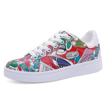 Soft Color Painting Graffiti Character Charm Breathable Flat Casual Shoes