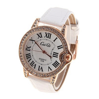 New Arrival White Leather Strip Big Dail Girls Wristwatches Women Dress Watches Quartz Woman Watch Ladies Clock (Color: White) = 1956363332