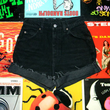 LEVIS High Waist Denim Shorts, Vintage 90s Levi's BLACK Jean Cut Offs, Frayed, Cuffed, High Waisted Shorts, Size 4 Small S, Orange Tab 921