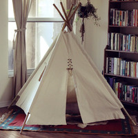 Canvas Teepee - Fold Away Tepee With One Window - Bamboo Poles Included