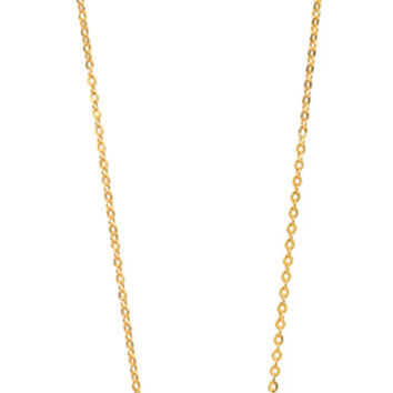 Sterling silver, gold plated tiny size micro-pave flat disc necklace