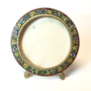 Vintage Micro Mosaic Picture Frame Antique Mini Italian Tesserae Green Round Table Top Picture Frame Estate Miniature Italy Millefiori Tiles
