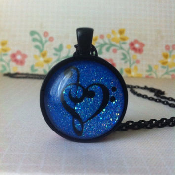 Treble Clef and Bass Clef Heart Glitter Pendant