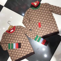 GUCCI Fashion Women GG Letter Jacquard Long Sleeve Stripe Sweater Pullover Top High Quality I11920-1